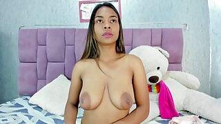 Naisha shows off her big brown boobs and areolas