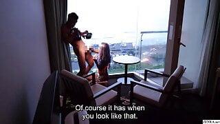 Japanese gyaru private sex video against ocean sunset