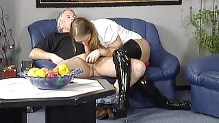 German shemale getting some cock in her holes