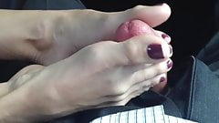 Hot Footjob in Car (close-up)