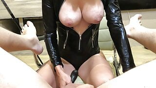 Prostate cum with cum eating for a latex Mistress. Short version