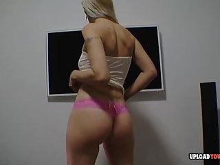 Saucy kissing while stripping naked - Blonde babe does some dancing while stripping