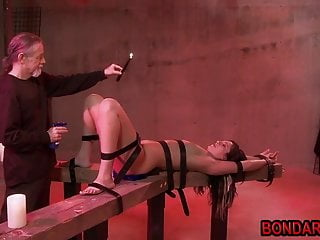 Cum wax torture Old guy tortures beautiful babe with ice,wax, whips and more
