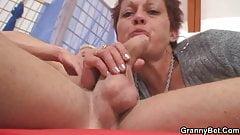 Granny rides neighbour's big cock