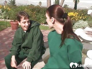 Beauties in bondage wearing socks - Brunette girlfriend wears socks while being rammed outdoors