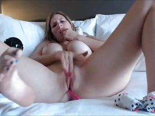 Intense tits - Busty milf rubbing one intensely and cums