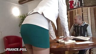 Hot French milf teacher Angie fucked by her student