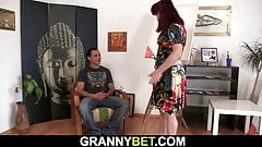 Hot redhead old mature woman and boy