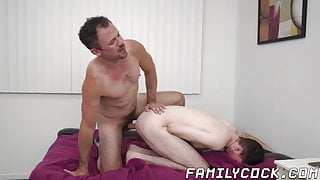 Stepson receives cum in mouth by kinky mature stepdad