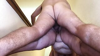 Mature BBW Fucked Doggy & Fingered on Stairs – Saggy Tits TnD