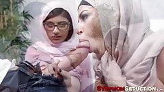 Две арабские дамы пробурили их милфу и юные киски