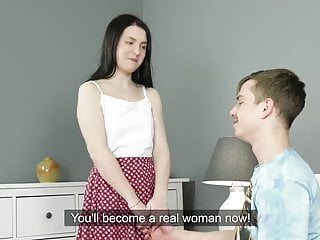 Her first cock video Black haired virgin sasha mamaeva experiences her first cock