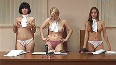 Busty topless Ukrainian judges prank