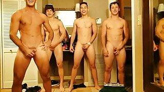 Group of college boys jack off together