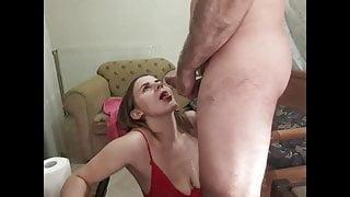 slave close-up deepthroat and cum on face