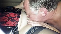 My slut wife sucking and wanking a stranger part1