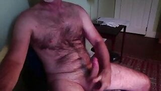 Married Hairy Daddy Shoots Cum on Hairy Chest