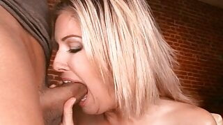 Hot chick deep throats a long cock while her friend help her