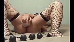Anal beads and dildo all at once