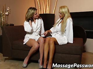 Sexy grinding videos Sexy lesbians love grinding their twats on the massage table