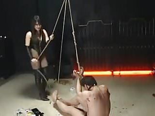 Male anal bondage Male slave bound and whipped