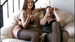 Black Stockings KARINA & WANDA CURTIS Threesome & Strapon