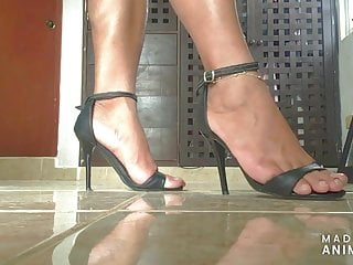 Woman give shemale footjob Sexy feet in high heel strappy sandals