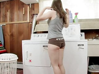 Pale naked teens - Pale skinned angel gets her kicks sitting naked on the washing machine