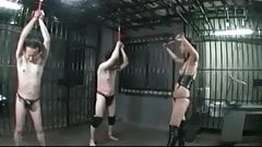 2  japanese slaves recieving harsh whipping in cells