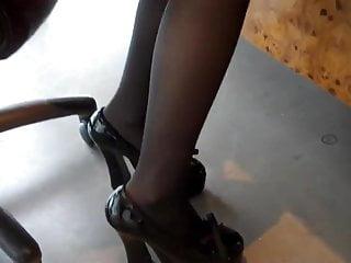 Footjob secretary Pantyhose footjob 1
