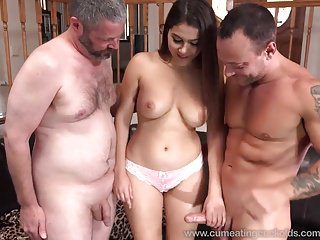 Bisexual cumshot Wife shares a cock with her husband and makes him eat cum