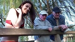 Two oldmen fuck beautiful girl while fishing