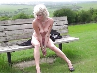 Naked high heels Hot skinny milf masturbating naked on the public bench