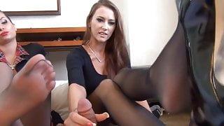 Hot Double Pantyhose Footjob