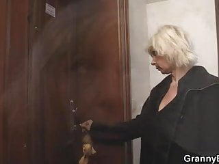Allowing him to orgasm - Blonde granny allows him drill her old cunt