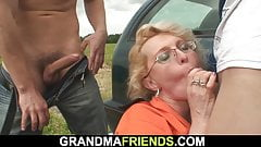 Old women picked up and double fucked outdoors