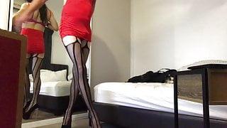 CD Sissy High Heels Red Sexy Dress Tease
