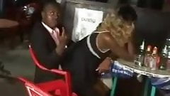 Kenyan Girl rides a dude in bar