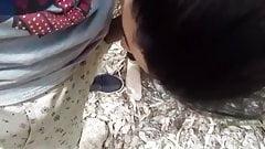 Moroccan teen sucks outdoor