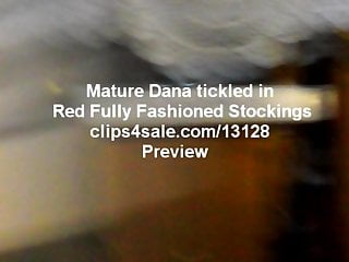 Orgasm from tickling - Mature dana tickled in red stockings - view from 3 cameras