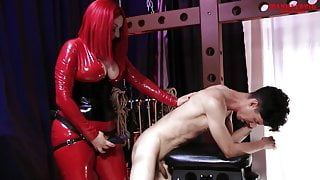 Mistress Aria Ass Fucks Slave for the First Time