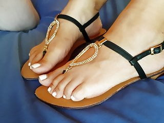 Saltwater sandals adult women Cum on my sexy wifes feet and sandals