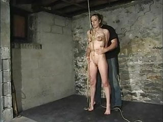 Ropes tied around breasts Tied tits riding a pussy rope