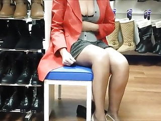 Vintage shoe store Milf in a shoe store