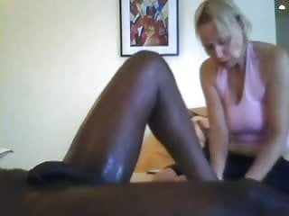 Dog woman cum white - White woman massages and jerks cum from black man