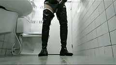 Put on overknee boots and gloves cum in WC (1)