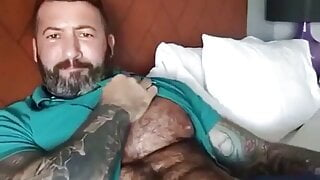 HAIRY TATTED MARRIED DADDY BEAR PLAYS WITH BIG COCK - NO CUM