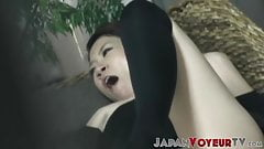 Japanese babe plays with her pussy while voyeur watches her