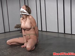 Bondage titty clamp Big titted sub tied up and clamped by maledom
