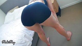 Beautiful Stepsister's Ass Gets Jizzed On In Ripped Bike Shorts